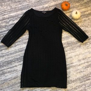 EXPRESS | Black stretchy dress with cut outs | M
